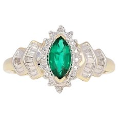 .64ctw Marquise Cut Synthetic Emerald & Diamond Ring - 10k Yellow Gold Halo