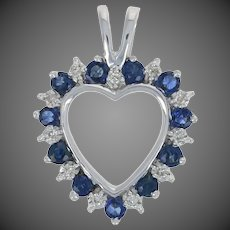 .58ctw Round Cut Sapphire & Diamond Pendant - 10k White Gold Heart