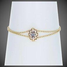 ".60ct Oval Cut Synthetic Color Change Sapphire Slide Charm Bracelet 7"" 14k Gold"