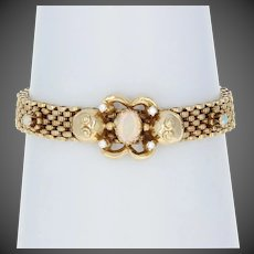 "Oval Cabochon Cut Opal & Diamond Vintage Bracelet 6 1/4"" 14k Yellow Gold .16ctw"