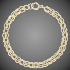 "Fancy Chain Bracelet 6 1/2"" - 14k Yellow Gold Spring Ring Clasp"