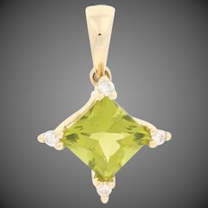 1.29ctw Square Cut Peridot & Diamond Pendant 14k Yellow Gold