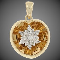 .20ctw Round Brilliant Diamond Cluster Pendant - 14k Yellow Gold Heart Leaf