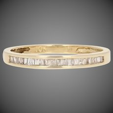 Baguette Cut Diamond-Accented Wedding Band 10k Yellow Gold Women's Ring
