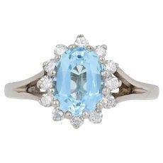 1.95ctw Oval Cut Blue Topaz & Diamond Ring - 14k White Gold Halo Size 5 3/4