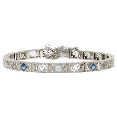 ".77ctw Synthetic Sapphire & Diamond Art Deco Bracelet 6 1/2"" 14k Gold & Platinum"