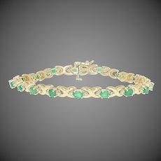 "3.25ctw Oval Cut Emerald & Diamond Bracelet 7"" - 14k Yellow Gold Women's Link"