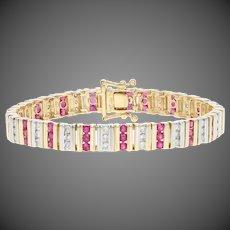 "4.00ctw Round Cut Ruby & Diamond Bracelet 5 3/4"" - 14k Yellow Gold Link"