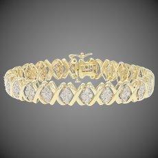 "1.00ctw Single Cut Diamond Bracelet 6 3/4"" - 10k Yellow Gold Link"