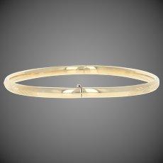 "Italian Etched Vine Bracelet 6 3/4"" - 14k Yellow Gold Oval Bangle"