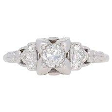 .58ctw European Cut Diamond Art Deco Engagement Ring - 18k White Gold Vintage