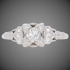 .58ctw European Cut Diamond Art Deco Engagement Ring - 18k White Gold Vintage