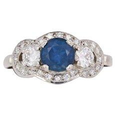 1.81ctw Round Sapphire & Diamond Vintage Engagement Ring & Wedding Band 14k Gold