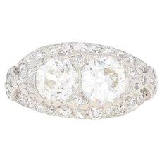 1.69ctw European Cut Diamond Art Deco Ring - Platinum Vintage Milgrain E4271