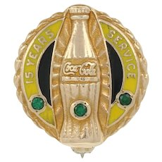 Coca-Cola 15 Year Company Service Pin 10k Yellow Gold Sapphires & Enamel Badge