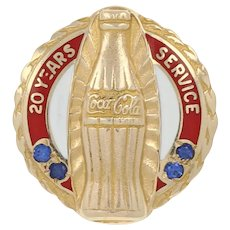 Coca-Cola 20 Year Company Service Pin -10k Yellow Gold Sapphires & Enamel Badge