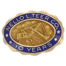 Nello L. Teer Co. 10 Year Company Service Pin 14k Gold Enamel Badge Construction