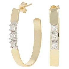 .18ctw Round Brilliant Diamond Earrings - 14k Yellow Gold Pierced J-Hooks