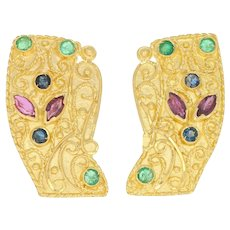 2.20ctw Marquise Ruby, Emerald, & Sapphire Earrings 18k Gold Large Clip-On Studs