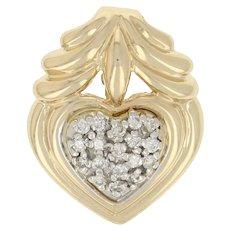 .15ctw Round Brilliant Diamond Slide Pendant - 14k Yellow Gold Heart Cluster