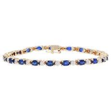 8.12ctw Oval Synthetic Sapphire & Diamond Bracelet 14k Yellow Gold Tennis