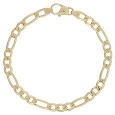 "Italian Figaro Chain Bracelet 7"" - 14k Yellow Gold Lobster Claw Clasp"