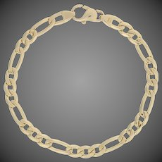 "Italian Figaro Chain Bracelet 7"" - 14k Yellow Gold Lobster Claw Clasp"