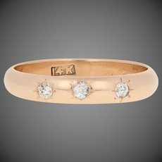 .15ctw European Cut Diamond Vintage Ring 14k Gold Three-Stone Wedding Band