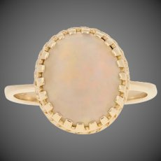 3.20ct Oval Cabochon Cut Opal Ring - 14k Yellow Gold Cocktail Solitaire