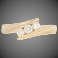 .36ctw Round Brilliant Diamond Ring - 14k Yellow Gold Three-Stone Bypass