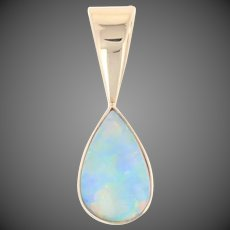 Pear Cabochon Cut Opal Pendant - 14k Yellow Gold Solitaire