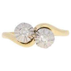 .10ctw Single Cut Diamond Edwardian Ring 18k Gold & 950 Platinum Antique Bypass
