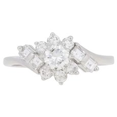 .85ctw Round Brilliant Diamond Vintage Ring - 14k White Gold Bypass Size 6 3/4