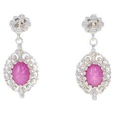 3.03ctw Cabochon Cut Synthetic Star Ruby & Diamond Earrings 14k Gold Non-Pierced