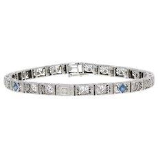 """.52ctw Synthetic Sapphire & Diamond Art Deco Bracelet 7"""" - 14k Gold Vintage Link"""