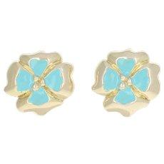 Flli Menegatti Enamel Flower Earrings - Sterling Gold Wash Large Clip-On Studs