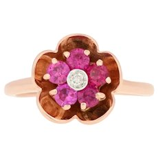 .76ctw Round Cut Synthetic Ruby & Diamond Ring - 14k Rose Gold Halo Flower