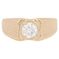 6.5mm Round Cut Moissanite Ring - 14k Yellow Gold Men's Size 10 3/4