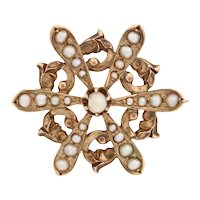 Seed Pearl Vintage Brooch - 10k Yellow Gold Snowflake Flower Pin