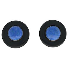 Cabochon Lapis Lazuli & Onyx Earrings 14k Gold & Gold Filled Large Pierced Studs