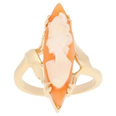Carved Shell Cameo Vintage Ring - 14k Yellow Gold Solitaire Bypass Size 5 3/4