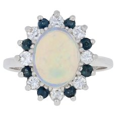 1.90ctw Oval Cabochon Cut Opal, Diamond, & Sapphire Ring - 14k White Gold Halo