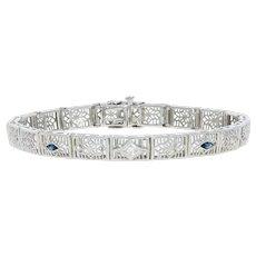 ".27ctw Marquise Simulated Sapphire & Diamond Art Deco Bracelet 6 1/4"" 14k Gold"