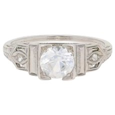 1.03ctw Round Cut Synthetic Sapphire & Diamond Art Deco Engagement Ring 18k Gold