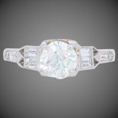 1.23ctw European Cut Diamond Art Deco Engagement Ring - Platinum GIA Vintage