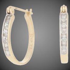 .10ctw Single Cut Diamond Earrings - 10k Yellow Gold Pierced Hoops