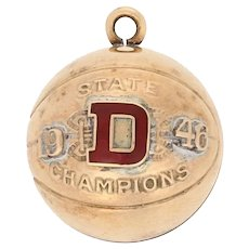 "1946 Basketball State Champions Pendant - 10k Yellow Gold Sports Fob ""D"""