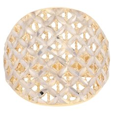 Etched Latticework Statement Ring - 14k Yellow Gold Contoured Concave