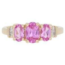 1.27ctw Oval Synthetic Pink Sapphire & Diamond Ring - 10k Yellow Gold Women's