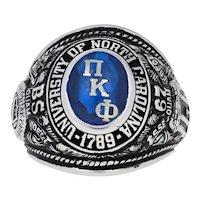 1967 University of North Carolina Class Ring - 10k White Gold Pi Kappa Phi